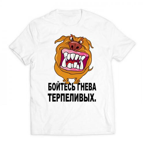 футболка с принтом бойтесь гнева терпеливых