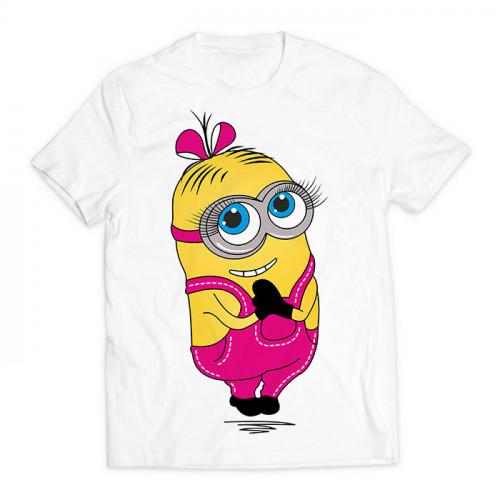 футболка с принтом Миньон девочка