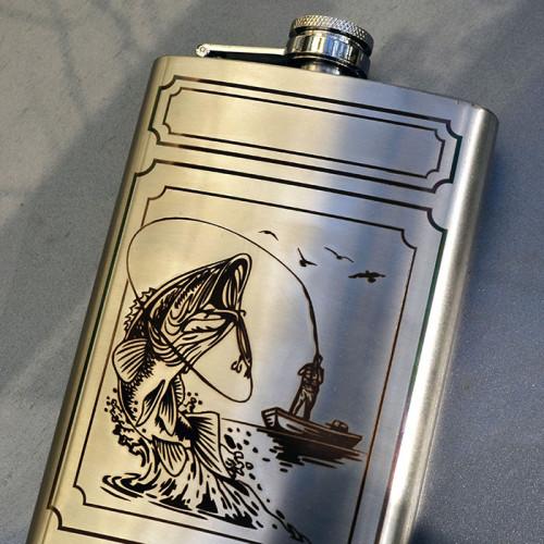 Лазерная гравировка на фляжке заказчика