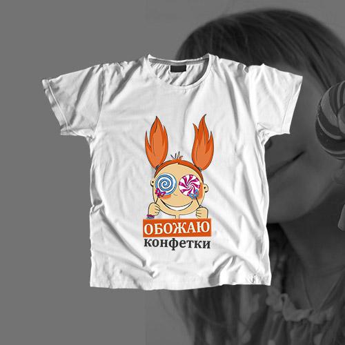 Детская футболка «Обожаю конфетки»