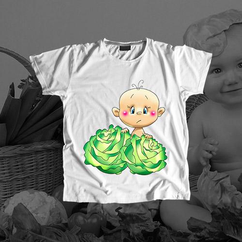 Детская футболка «Нашли в капусте»