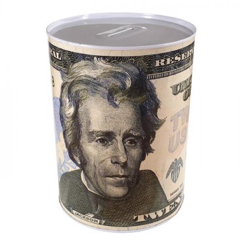 Копилка металлическая с изображением 20 долларов Джексон большая