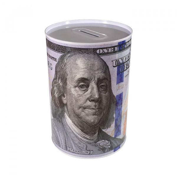 Копилка металлическая с изображением 100 долларов Франклин