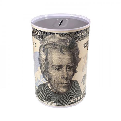 Копилка металлическая с изображением 20 долларов Джексон