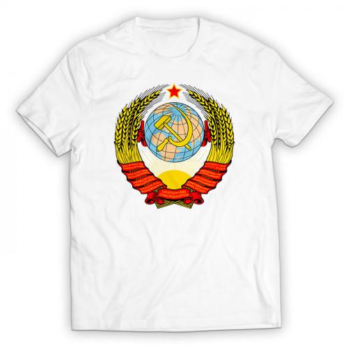 Футболка с гербом СССР белая мужская