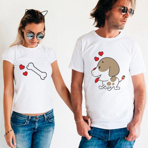 Парные футболки «Щенок и косточка»