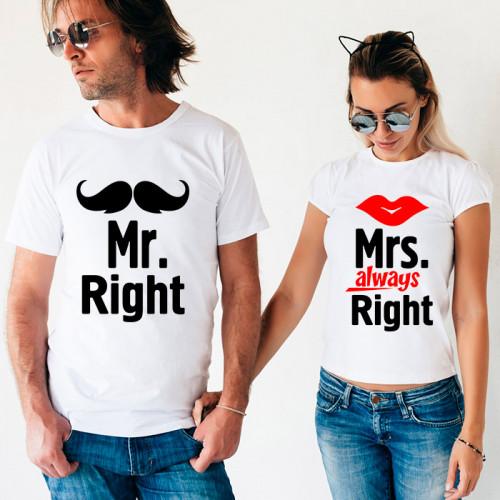 Парные футболки «Mr & Mrs Right»