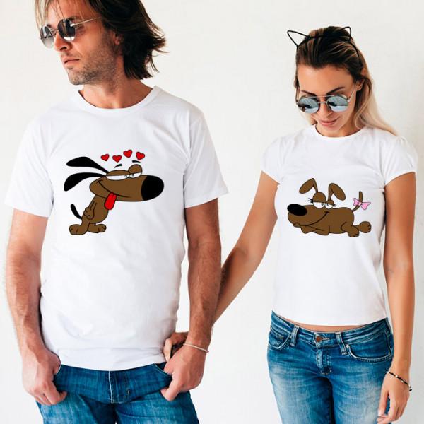 Парные футболки «Влюбленные собачки»