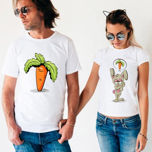 Парные футболки «Морковка и заяц»