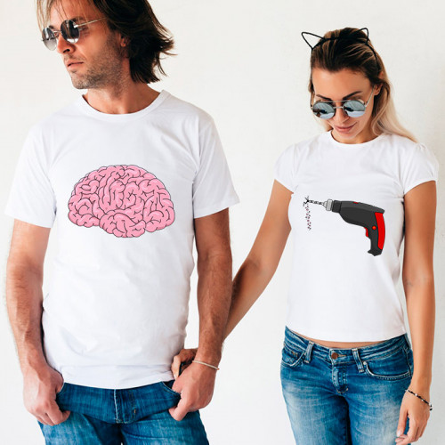 Парные футболки «Мозг и дрель»